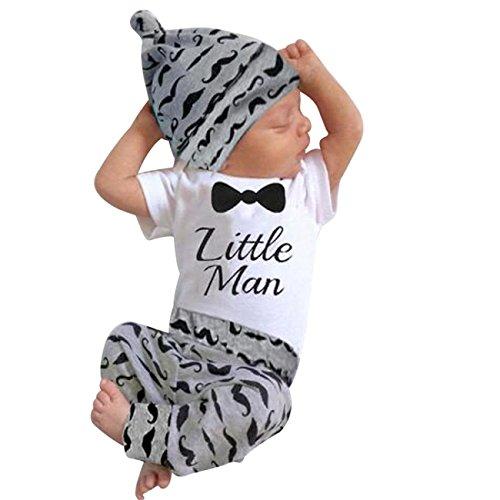 Sunnywill Baby Jungen Mädchen Print Outfits Kleiderständer Tops + Lange Hosen + Hut Set (6 monat, Weiß) Neugeborene Jungen Kleidung Unterwäsche