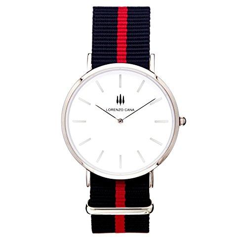 LORENZO CANA Luxus Armbanduhr Schweizer Uhrwerk Saphirglas 40 mm Durchmesser Edelstahl Nato Armband Uhrenbox Wasserdicht klassisch Trend hochwertige Uhr Markenuhr 80018 (Designer-ostern-kleider)
