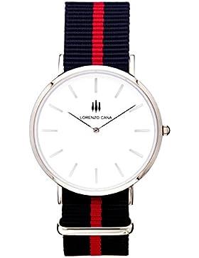 LORENZO CANA Luxus Armbanduhr Schweizer Uhrwerk Saphirglas 40 mm Durchmesser Edelstahl Nato Armband Uhrenbox Wasserdicht...