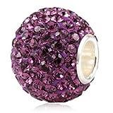 Andante-Stones 925 Sterling Silber Kristall Glitzer Bead Charm (Dunkler Flieder) als Kettenanhänger oder Element für Bettelarmbänder + Organzasäckchen