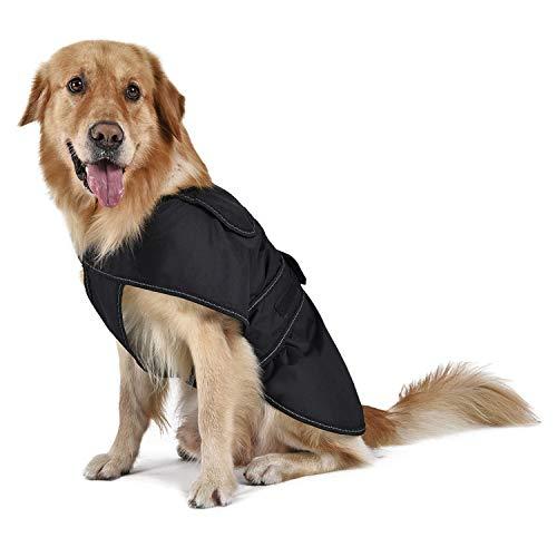 Eono essentials vestiti del cane cappotto freddo giacca invernale abbigliamento impermeabile caldo gilet regolabile per piccoli cani di media taglia striscia staccabile fodera in pile 45cm/xl