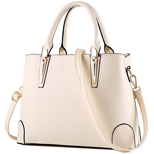 Crossbody Taschen für Frauen, EaseGave Trendy Elegant PU Leder Schulter Messenger Bags White