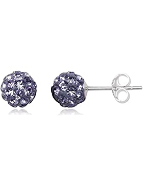 EYS JEWELRY® Damen-Ohrringe Kugeln Bälle Perlen 6 x 6 mm Preciosa Elements Glitzer Kristalle 925 Sterling Silber...