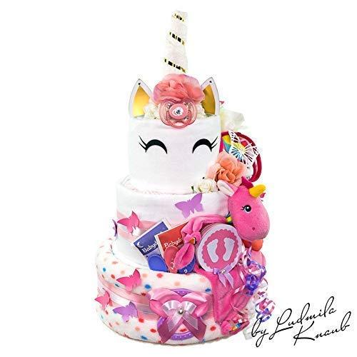 MomsStory - Tarta de pañales para niña, unicornio, regalo para nacimiento, bautismo, ducha de bebé...