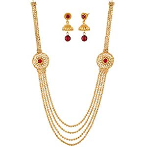 Apara Gold Plated South Indian Four Strings Necklace set For Women