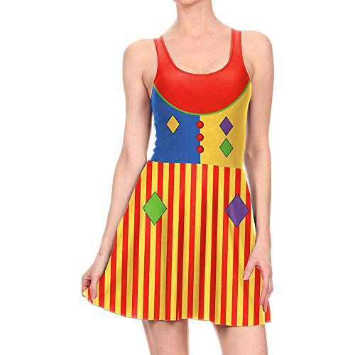 Frauen Halloween Kürbis Kleidfrauen Halloween Kürbis Jumperdigital Print Kleid Weibliche Halloween Cosplay Clown Kleid, M 3D