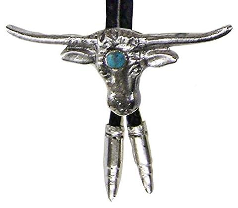 Modestone Bolo Longhorn Bull Head Aqua-Like Stone & Silver Bullets O/S Silver