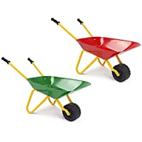 GYMAX Kids Metal Wheelbarrow Brick Toy Soil Garden Trolley