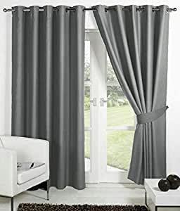 Buy Skyloom Grey Colour Solid Polyester Window Curtain 5