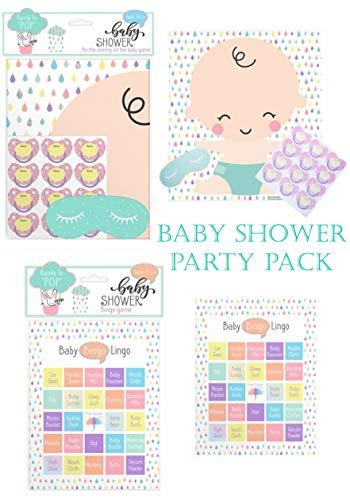 Baby Shower Game Pack - Baby Bingo 24 Karten - Pin Tail on The Baby