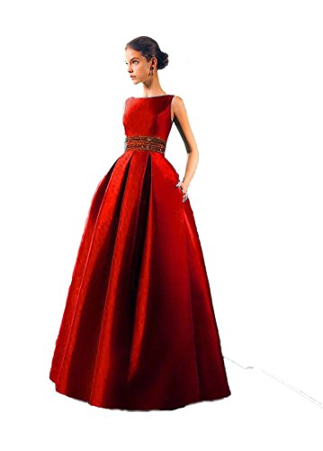 Royal Export Women's Red Tafeta Silk Party Wear Semi-Stitched Gown