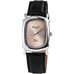 Omax Women's Quartz Watch Silver Analogue Metal Leather Wristwatch