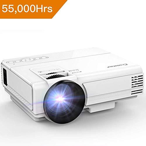 Crosstour Vidéoprojecteur Mini Projecteur Portable 1080P Prenant en Charge 55,000 Heures de Vie LED Compatible avec HDMI/USB/VGA/AV/Smartphone/TV Box/TV Stick (P700)