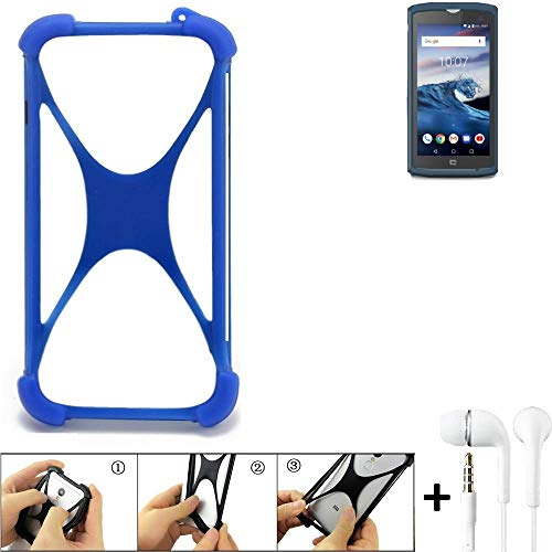 K-S-Trade Bumper kompatibel mit Crosscall Core X3 Schutzhülle Handyhülle Silikon Schutz Hülle Cover Case Silikoncase Silikonbumper TPU Softcase Smartphone, Blau (1x), Headphones