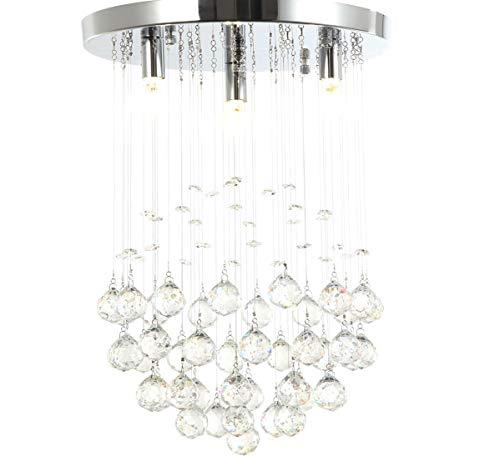 LED Deckenlampe Kristall Deckenleuchte funkelnd Tröpfchen Kugel Kronleuchter 30cm 3xG9 5W ersetzbare Leuchtmittel Lewima Denita -