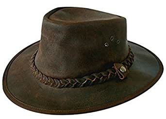 Explorer Brown Leather Bush Hat from Cotswold Country Hats (55cm Small)
