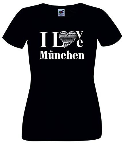 T-Shirt I Love Muenchen mit einer Strassaplikation / Strassherz Schwarz