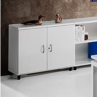 Euromof Armario de Oficina, Bajo, Puertas con Cerradura. 92x42x78 cm. Color Blanco.