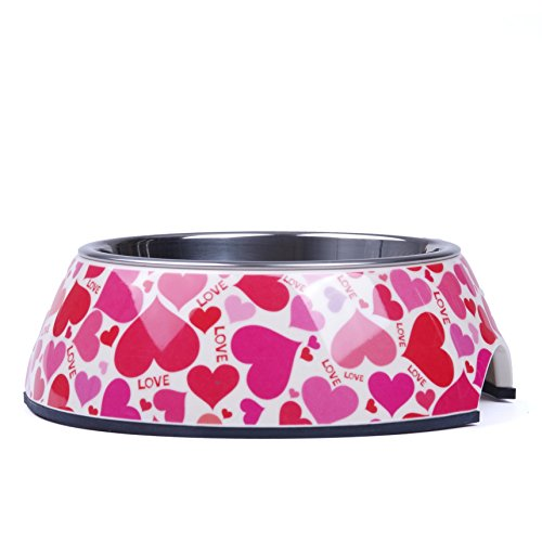 SUPER-DESIGN-Classic-Removable-Stainless-Steel-Bowl-in-High-Gloss-Anti-Skid-Round-Melamine-Standfor-Dog-or-Cat-S-Love-Pattern