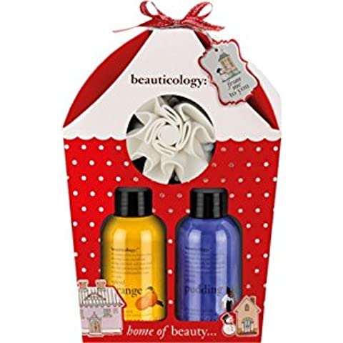 Baylis y Harding Beauticology Inicio de belleza Trío de Navidad Juego de regalo. El conjunto incluye 100 ml con especias Naranja Body Wash, 100 ml pudín de ciruelo Crema de Ducha y un cuerpo Pulidora de nylon. Un regalo