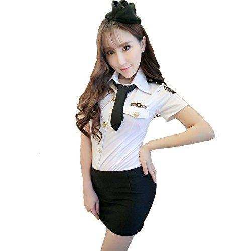 Yinglite Damen Sexy Uniform Stewardess Flugbegleiterin Polizei Cop Polizistin Polizist Polizistinnen Lingerie Dessous Kostüm Erotisch Uniform Unterwäsche COSPLAY Spitze Reizwäsche Reizvolle Overall 2029(X-Large)