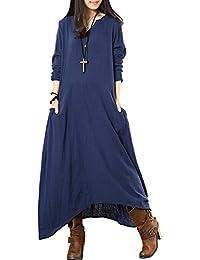 2c76452e915c Fashion Damen Maxikleid Leinenkleid Langarm V-Ausschnitt aus Baumwolle und  Leinen Kleid einfarbig