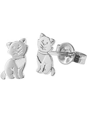 trendor Silber Kinder-Ohrringe Katze 35834