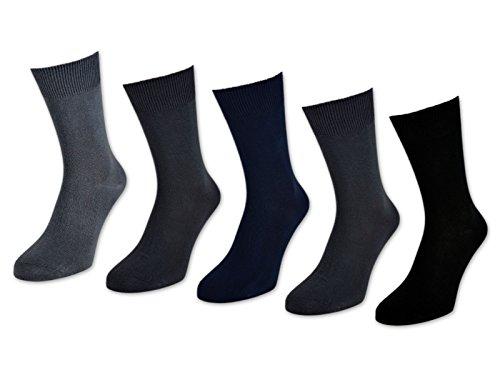 10 bis 60 Paar Herrensocken 100% Baumwolle ohne Naht Business Herren Socken Schwarz (Schwarz/Blau/Grau - 43-46, 10 Paar)