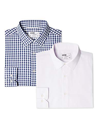 Hem & Seam Herren Businesshemd 2er Pack Slim Fit Checked, Mehrfarbig (Block Check Blue / White), 50 (Herstellergröße: 15.5) - Block Check