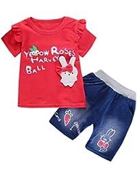 6699964ee Luckycat Conjunto de Ropa para Niñas Ropa Bebe Niño Camiseta de Manga Corta  Conejo Blusas Niña Top y Mezclilla Pantalones Corta…