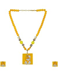 State A Style Yellow Color Alloy Necklace Set For Women SS-004