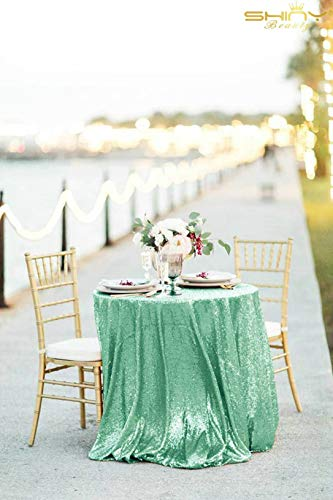 ShinyBeauty Sequin Tablecloth Light Green 48-Inch