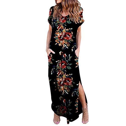 OIKAY Damen Bodenlanges Kleid Langes Jersey Maxikleid Frauen beiläufige lose Tasche langes Kleid Kurzarm Split Maxi Kleider