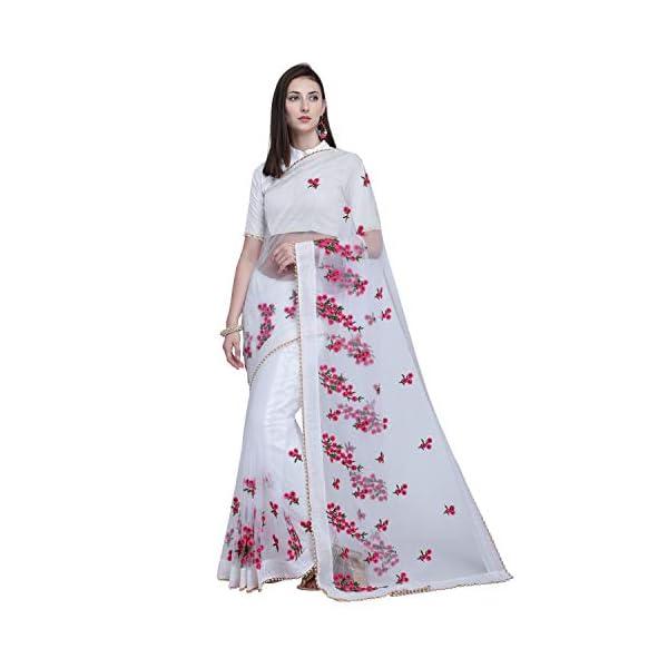 271b713c92 Monika Silk Mill Women's Latest Fancy Embroidered Party wear Festival  Colection Mono Net Saree