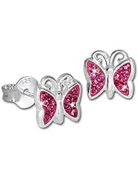 SilberDream Kinder Ohrringe Schmetterling Zirkonia rosa Ohrstecker 925er Sterling Silber SDO094A