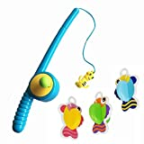 Blossom Fishing Toy best gift toy with 1 Fishing Rod with Hook & 3 Designers Fishes for Kids which Develops creativity,motor skills and cooperation skills in kids,Multi Color