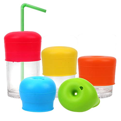 Zonster 5PCs / Set Kaffee Tee Tasse deckt KüchenZubehör Trinkgefäß Silikon Cup Abdeckung Glas Deckel Anti üBärlauf Sippy Cup Straw Lids 5