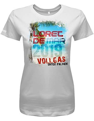 Jayess - Spanien Damen Shirt - Loret de Mar - 2019 Vollgas unter Palmen - Weiß - Gr. M