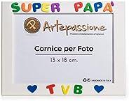 """Cornici per Foto in Legno 13x18 con la Scritta""""Super Papà TVB"""" e Decorata con Cuoricini, da Appoggia"""