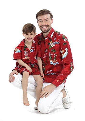 Passender Vater Son Hawaiian Luau Outfit Weihnachtsmann-Hemd Jungen-Hemd-Kurzschluss Roter Sankt-Flamingo M-2