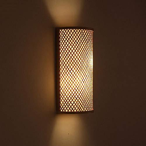 ZSAIMD Bambou Osier Rotin Shade Tunnel Applique Murale Applique Rustique Lumière Chambre Chevet Couloir 2 Lumières E27 Edison Applique Luminaire Applique Lanterne Décoration