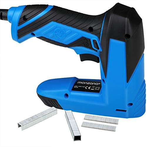 Monzana® Kombi Elektrotacker Elektronagler | inkl. 400 Klammern + | inkl. 100 Nägel | Sicherheitsschalter | 30 Schüsse pro Minute | Anti-Stau-Mechanismus - Elektro Tacker Nagler