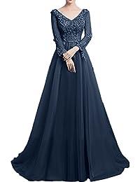 Gorgeous Bride Traumhaft Brautmutterkleider A-Linie Satin Tüll Spitze Lang Ärmeln Abendkleider Lang Cocktailkleider Ballkleider
