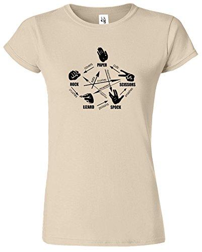 Big Bang Theory Dames T-Shirt Roche Papier Les Ciseaux Spock Sable / Noir Design