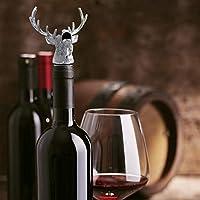 Botella de vino, vertedor de aleación de zinc, diseño de ciervo con cabeza de ciervo para botella de vino, herramienta única para la mayoría de botellas de vino y licores, color plateado para el hogar, cocina, obligatoria