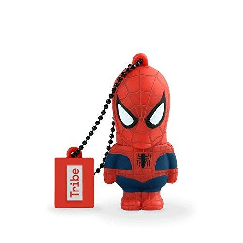 Tribe disney marvel avengers spiderman chiavetta usb da 16 gb pendrive memoria usb flash drive 2.0 memory stick, idee regalo originali, figurine 3d, archiviazione dati usb gadget in pvc con portachiavi - rosso