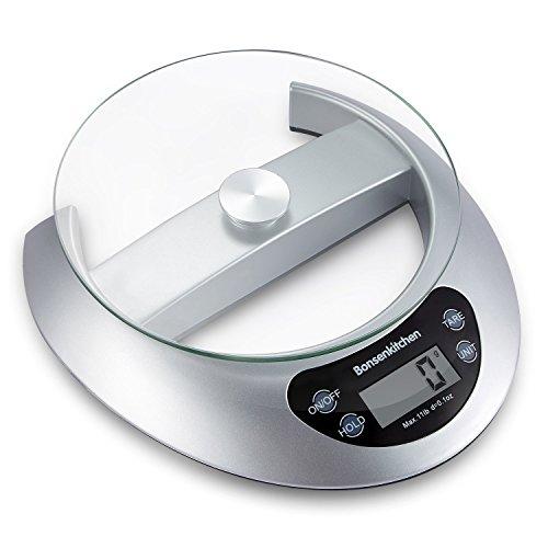Bonsenkitchen Balance de Cuisine multifonctionnelle numérique pour la Cuisine avec Fonction de Tare et Retrait du Plateau en Verre, 5 kg, système de capteur Haute précision, Argent (KS8802)