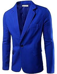 Veste de Costume Homme Mince d'affaires décontraction Couleur Unique Un Bouton
