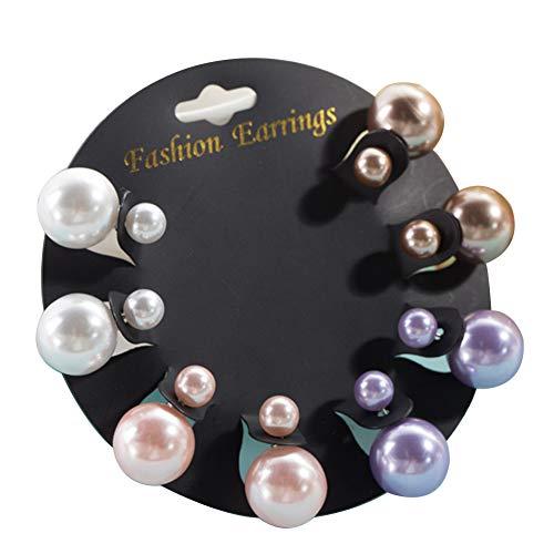 Newin Star 4 Paires Boucles d'oreilles Pearl, Piercing Perle Boucles d-Oreilles, Bling Strass Argile polymère Deux Anneaux d'oreille Sided Multicouleur