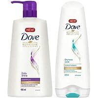 Dove Daily Shine Shampoo, 650ml & Dove Dryness Care Conditioner, 180ml